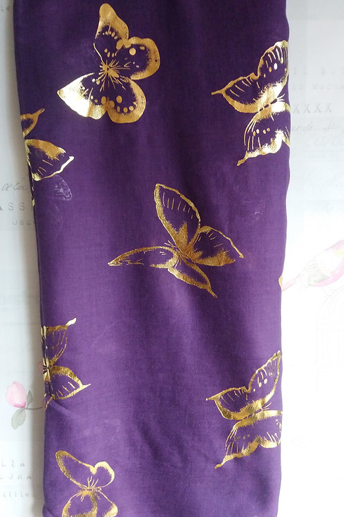 Purple Scarf with Gold Foiled Butterfly Print