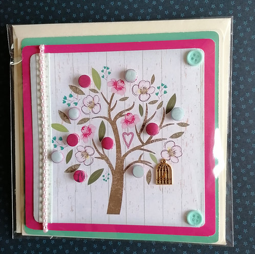 Pink and Turquoise Tree Design Greeting Card