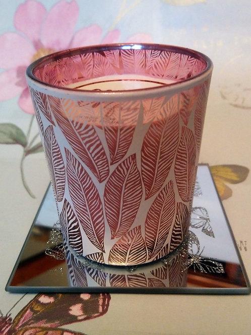 Gilt Feather Design Votive Candle
