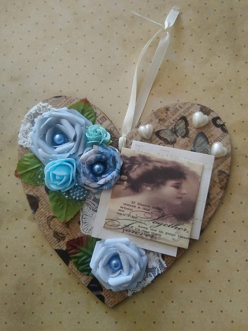 Shabby Chic Style Decorated Hanging Heart
