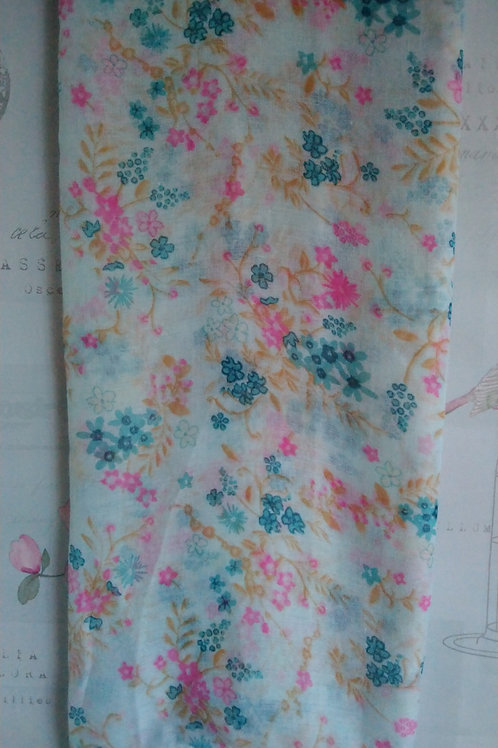 Pretty Pale Green Scarf with Ditsy Floral Print
