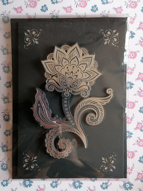Black and Silver Flower Design Greeting Card