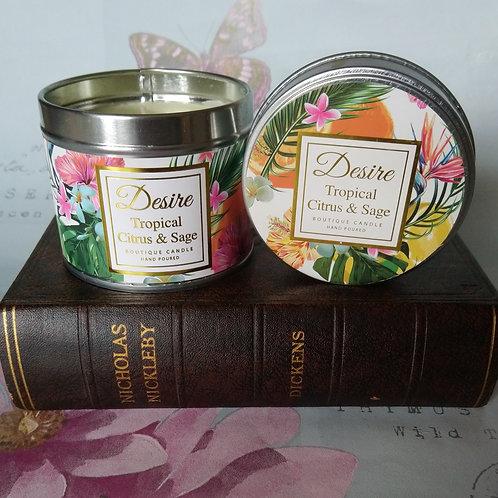 Tropical Citrus & Sage Fragranced Candle Tin
