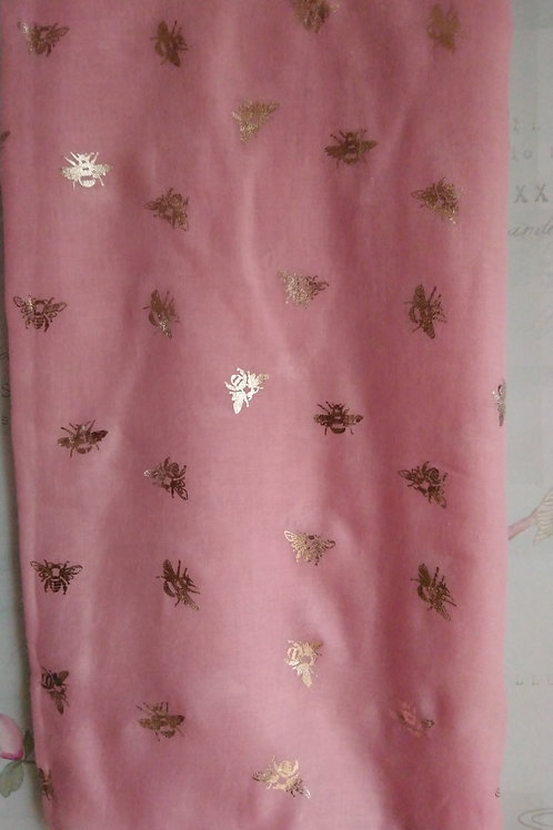 Pink Scarf with Rose Gold Bee Print