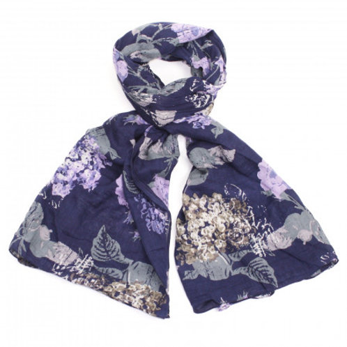Organic Cotton Purple Floral Print Scarf