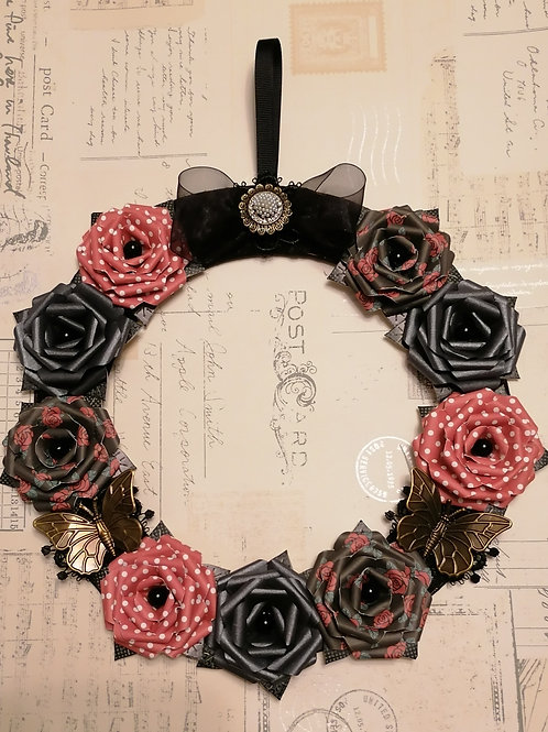Red and Black Rose Wreath