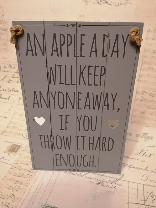 'An Apple A Day' Hanging Wooden Sign