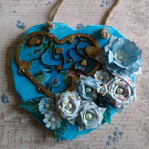Beautiful Decorated hanging Heart in Shades of Blue