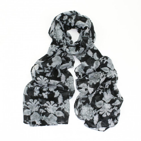 Black and White Floral Print Scarf