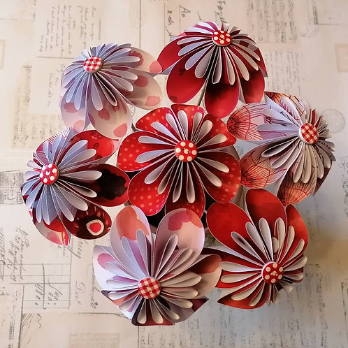 Red and White with A hint of Pink Round Kusudama Flowers
