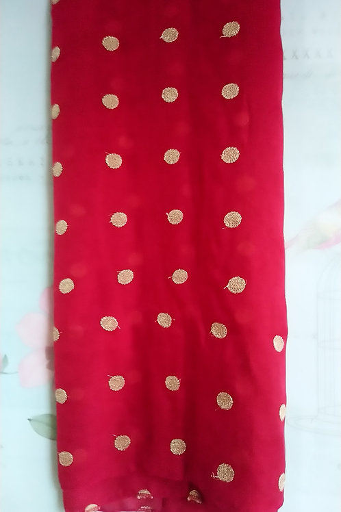 Red Scarf with Gold Embroidered Polka Dots