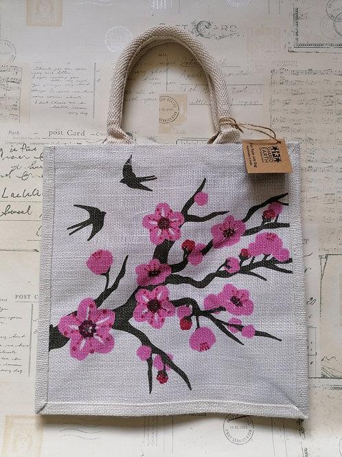 Pretty Cherry Blossom Jute Shopper