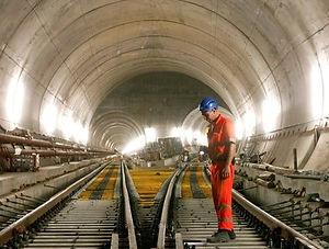 tunnel engineer working on railroad track