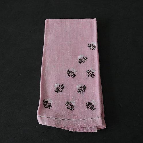 2 serviettes de table tissées et brodées