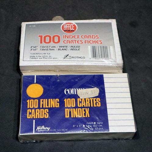 2 paquets de 100 cartes d'index- fiche