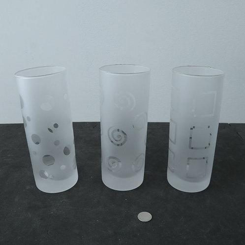 3 verres givrés avec motifs