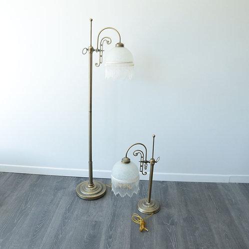 2 lampes (verre et métal)