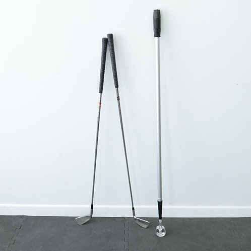 2 bâtons de golf et perche télescopique pour balles