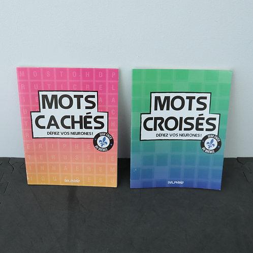 2 cahiers de mots cachés et croisés
