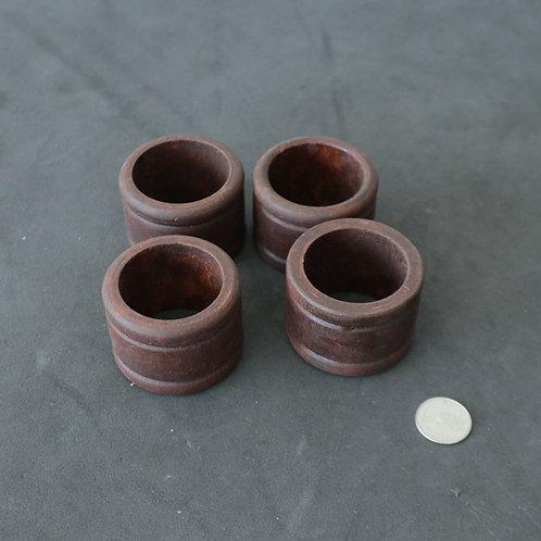 4 anneaux de bois pour serviettes de table