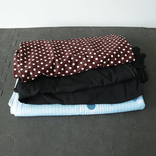 3 tissus (polyester extensible et crêpe)