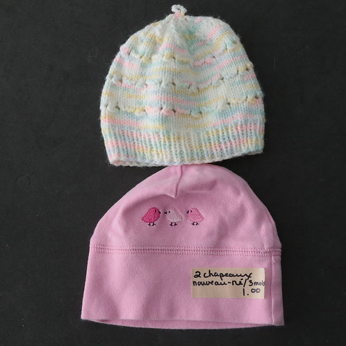 2 chapeaux pour nouveau-né (1 de 3 mois)