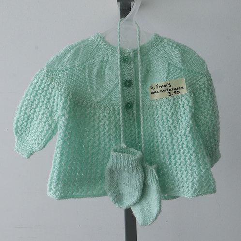 Veste tricotée avec mitaines (3-9 mois)