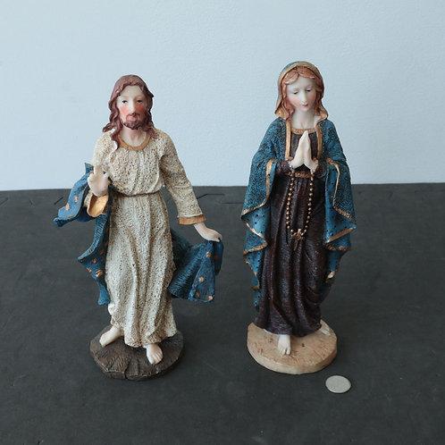2 statuettes Jésus/ Marie