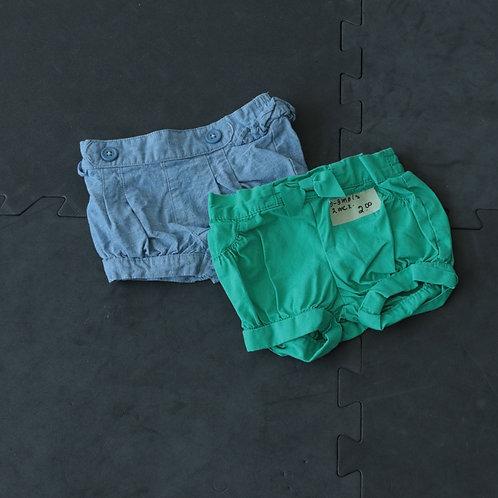 2 Pantalons court (0-3 mois)