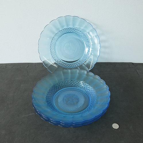 4 assiettes bleues