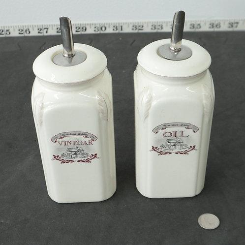 2 pots- bouteilles Vinaigre et Huile