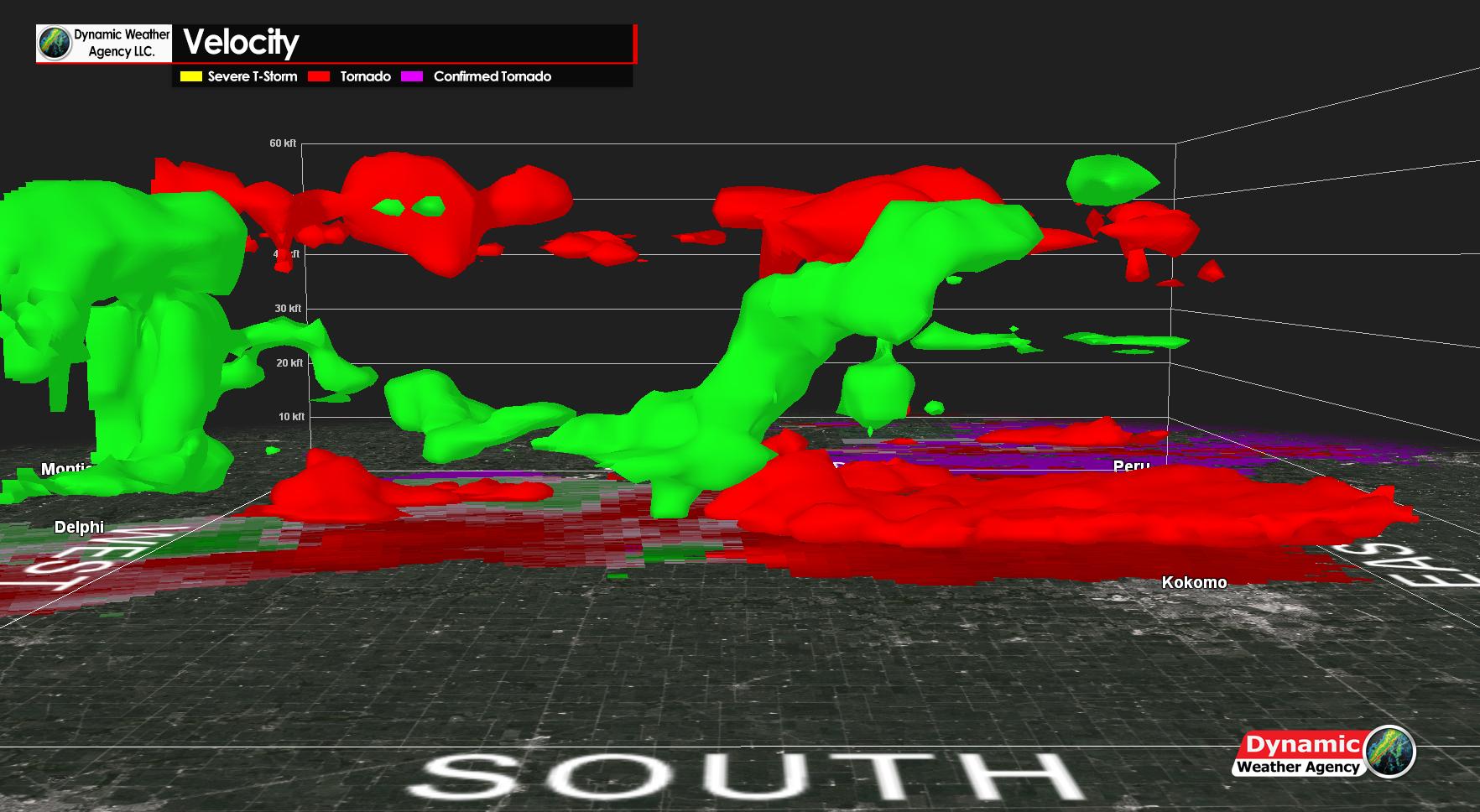 KIND Tornado #2  Near Flora to Near Kokomo Velocity 3D