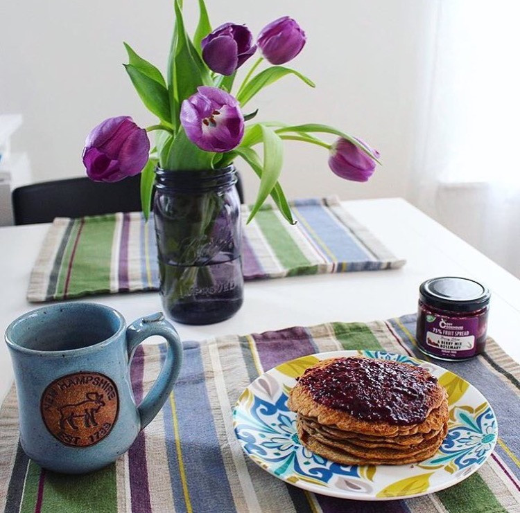 Berry Bliss paired with pancakes for breakfast. Mouth watering & flavourful!