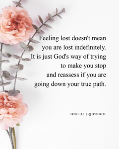 feeling lost in life doesn't mean you are lost indefinitely. It is just God's way of trying to make you stop and reassess if you are going down your true path