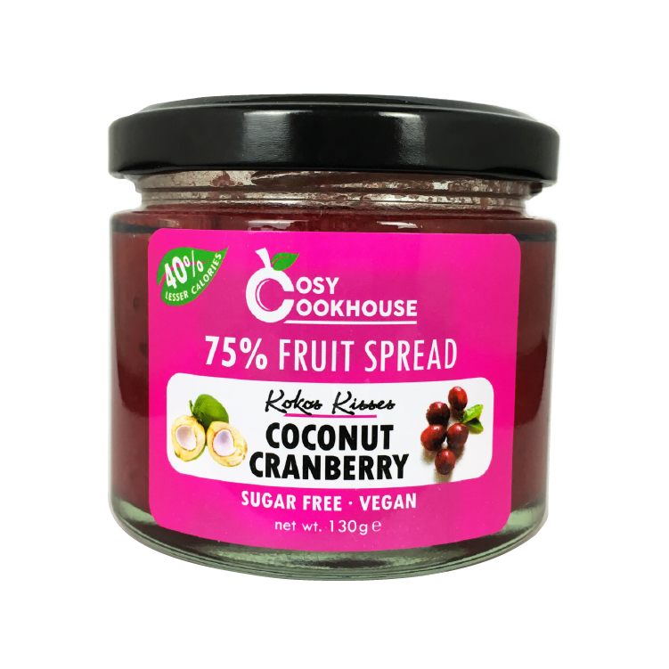 Kokos Kisses - 75% Fruit Spread - Mix of Coconut & Cranberry (no added sugar)