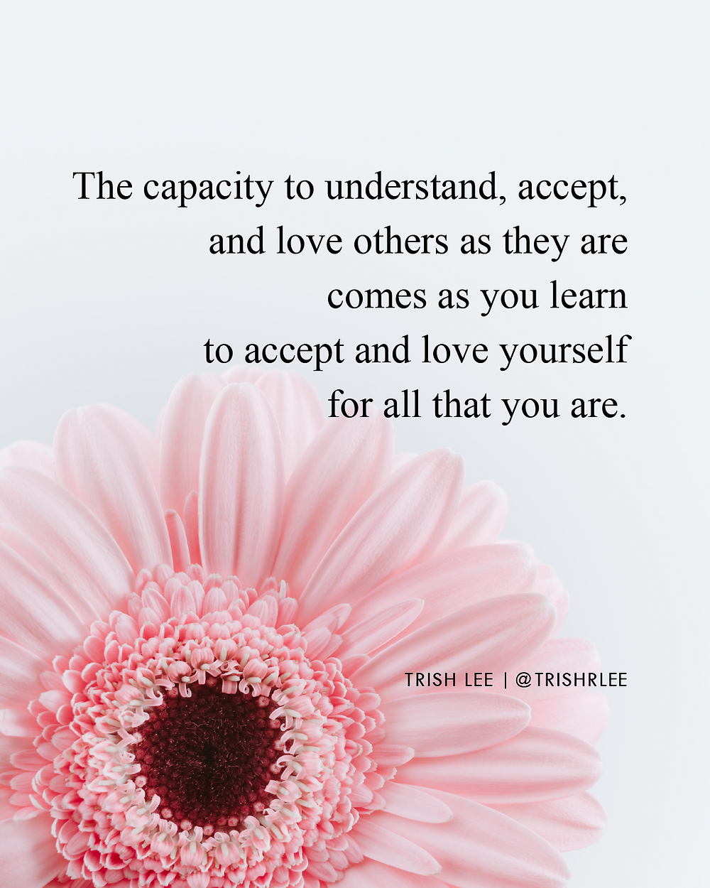 the capacity to understand accept and love others as they are comes as you learn to accept and love yourself for all that you are