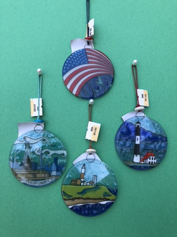 4 glass ornaments