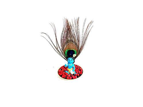 Kunnikuru Krishna Idol Inside Brass Thalika With Peacock Feather