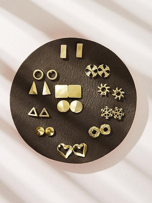 Flat faux gold earring card
