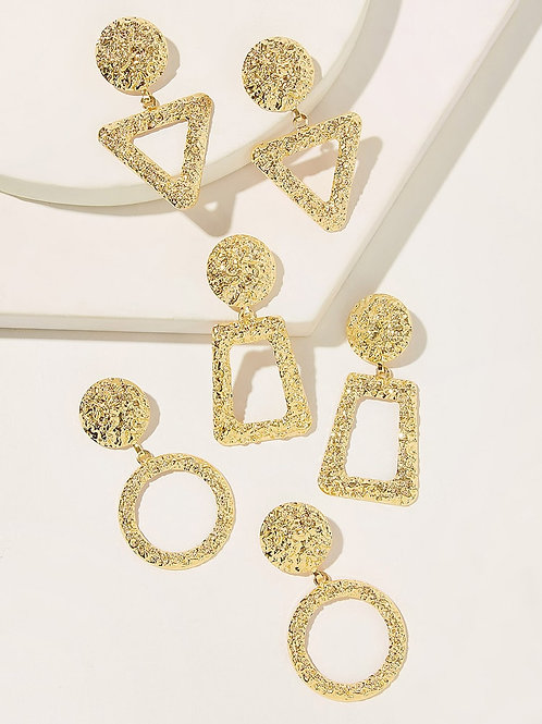Geo metric faux gold earrings