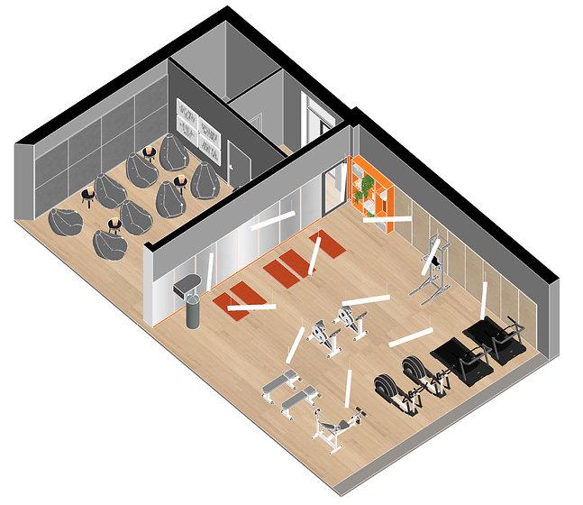 Brickworks Student accommodation Gym and cinema axonometrie