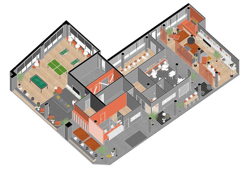 Brickworks Student accommodation Axonometrie Communal Area