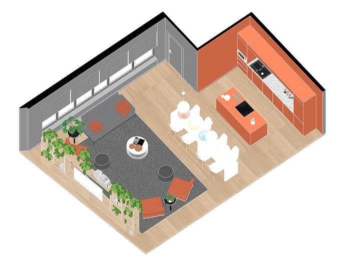 Brickworks Student accommodation Axonometie Upper Floor Kitchen