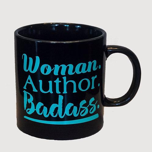 "20oz ""Woman. Author. Badass. mug (Black)"