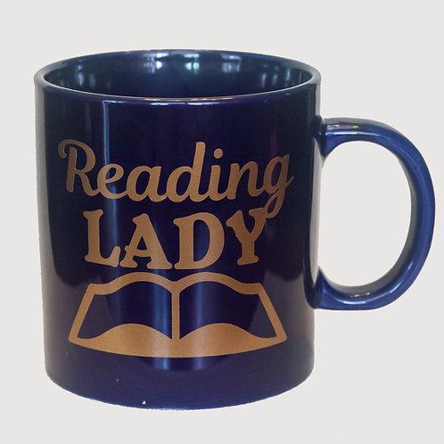 """20 oz """"Reading Lady"""" mug (Blue)"""