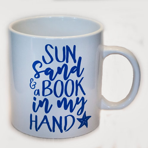 "20 oz ""Sun, Sand and a Book in my Hand"" mug (White)"