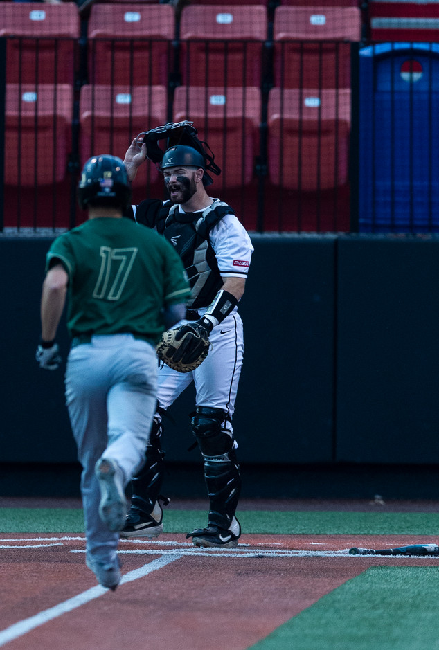 "Western's Hilltoppers faced off against Charolette's Knights Friday evening and won 8 to 5. Charolette's player #17, Todd Elwood, charges to home plate towards the end of 3rd inning, as WKU's catcher #25, Matt Phipps, yells ""Send home, send home"" in attempt to get Elwood out, but Charolette gets the point."