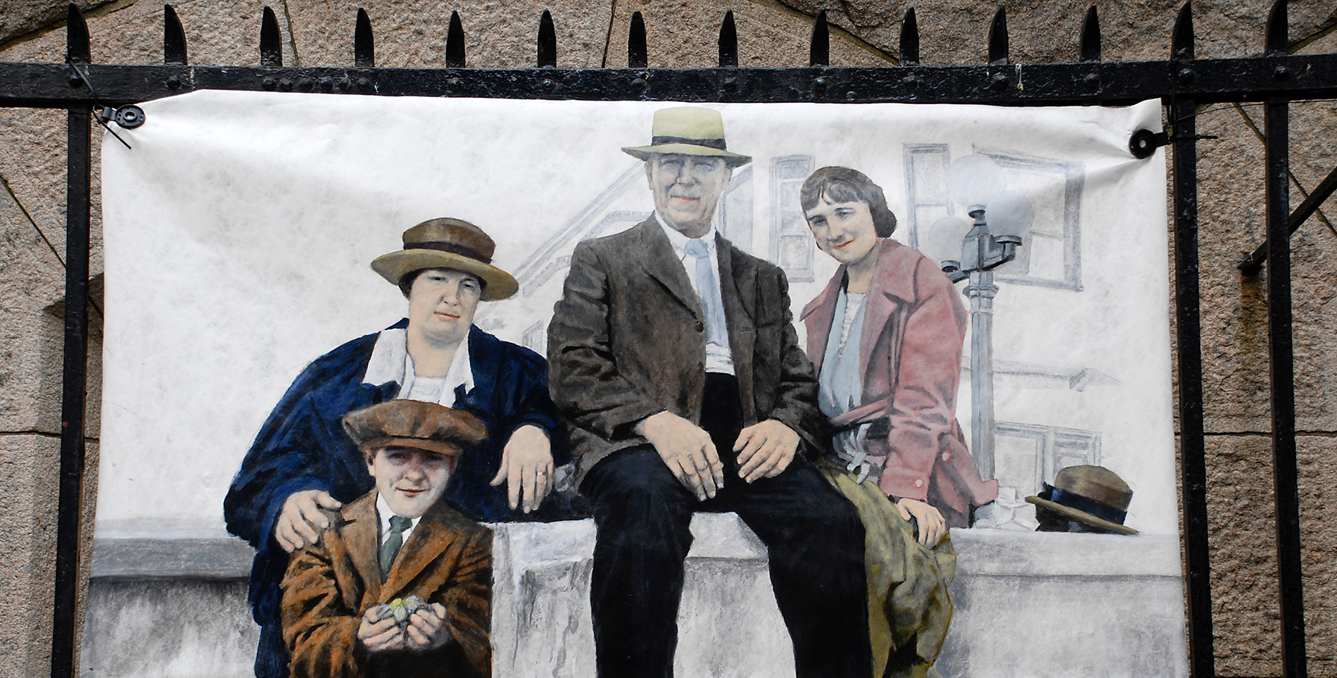 """Trip to Long Beach- The artist's grandparents, father and aunt circa 1920"""" - Frank Sabatté"