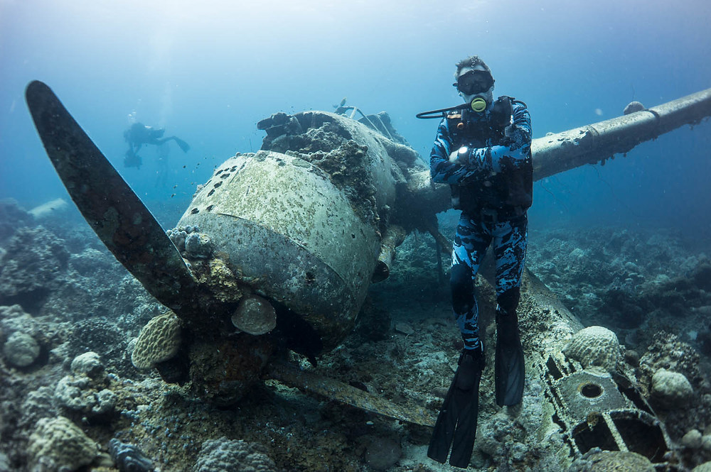 James Glancy diving in Palau for Sharkweek