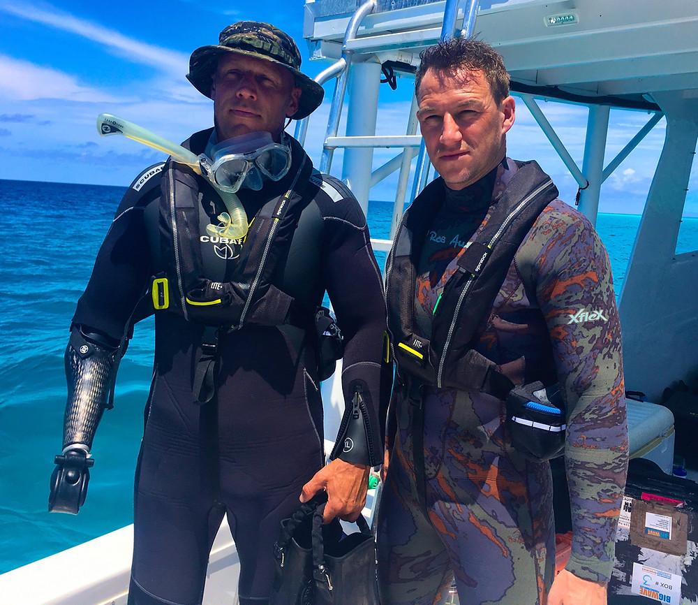 James Glancy & Paul de Gelder prepare for two days adrift in the Atlantic Ocean
